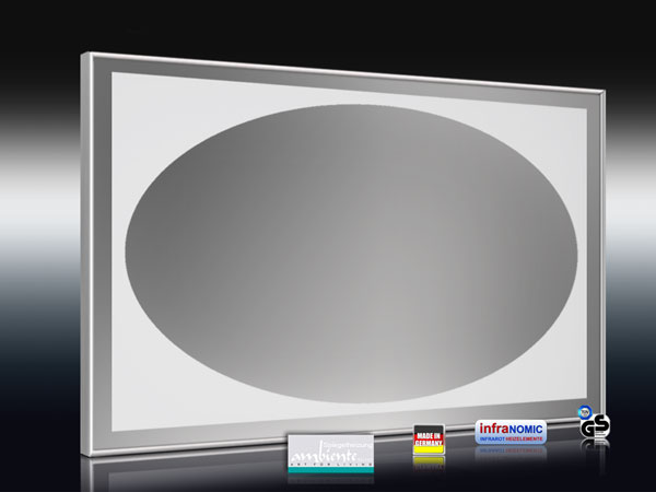 Spiegelheizungen mit Oval-Design sandgestrahlt