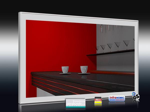Spiegelheizungen mit Rechteck-Design sandgestrahlt