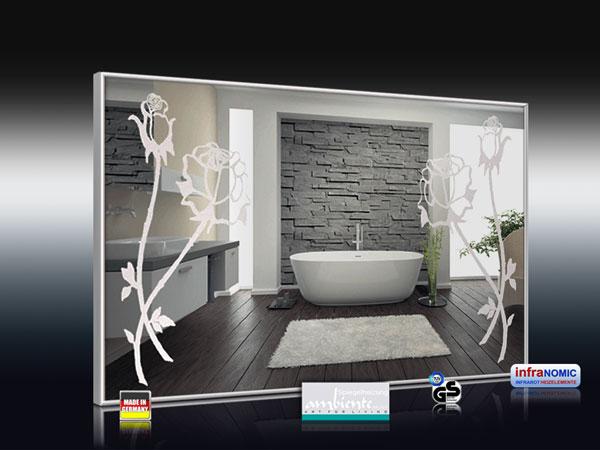 Spiegelheizung mit Rosen-Design sandgestrahlt